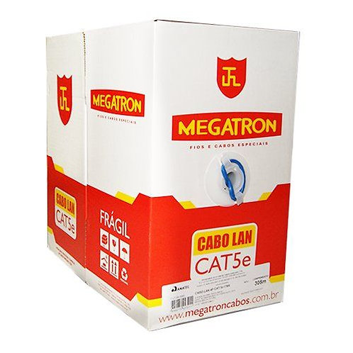 CABO DE REDE LAN CAT5E C/ 305MTS AZUL PURO COBRE - MEGATRON