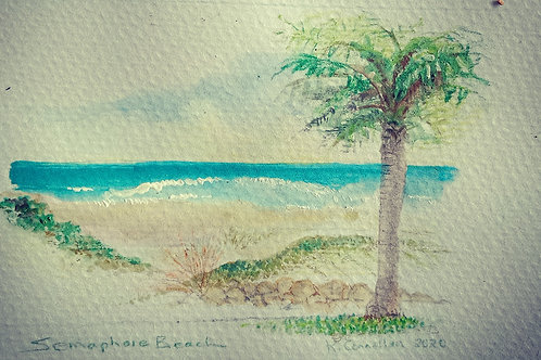 Semaphore beach with palm small card
