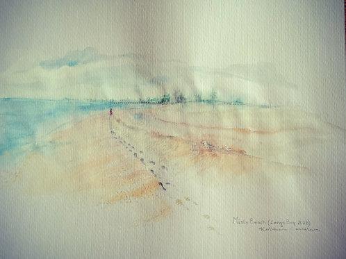 Misty walk at Largs w/c framed 30x25cm