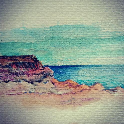 Yorkes beach scene 1 small card
