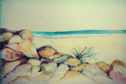 Semaphore beach with rocks small card