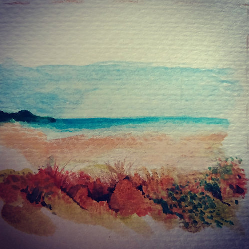Yorkes beach scene 4 small card
