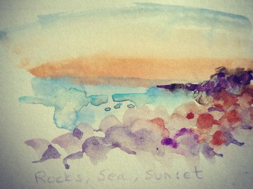 Rocks sea sunset small card