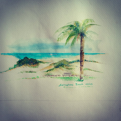 Semaphore beach with palm w/c framed 32x24cm