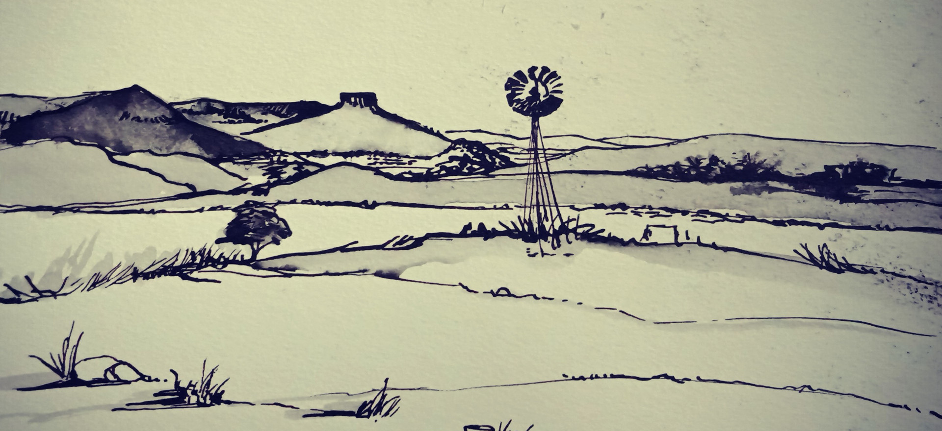 Karoo landscape with windmill_ink_16x15c