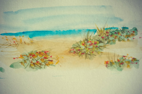 Semaphore beach with flowers 2 small card
