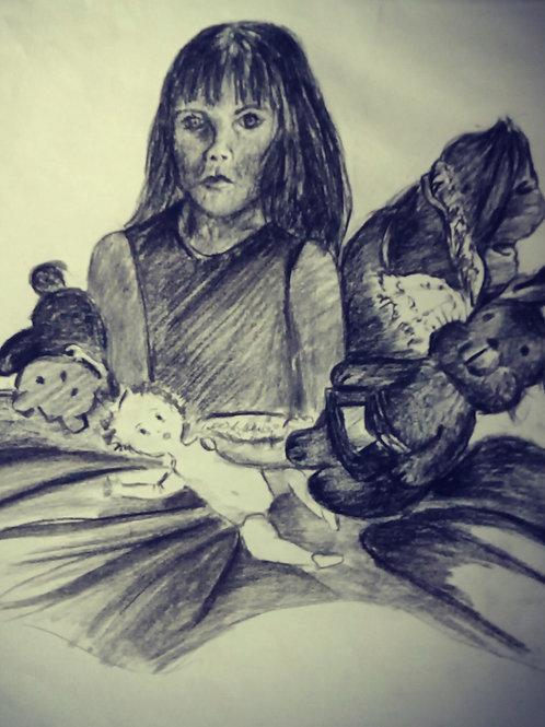 Sad child with toys