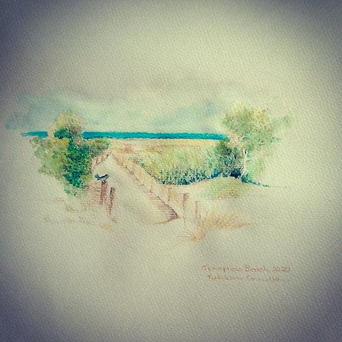 Semaphore Beach w/c framed 26x 22cm