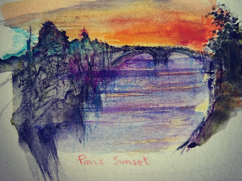 Sunset over the Seine small card