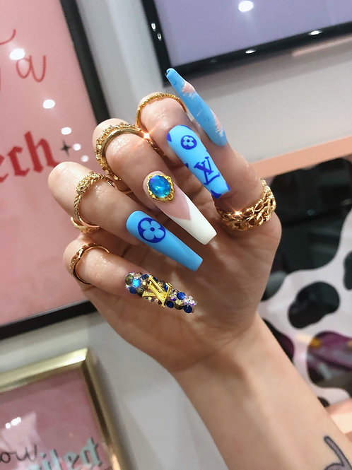 Denim Louis Vuitton False Nails