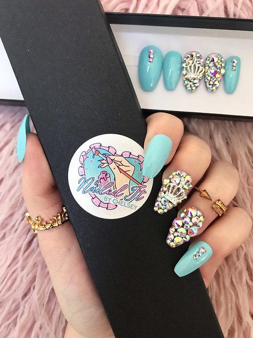 Baby Blue Crown Crystals False Nails