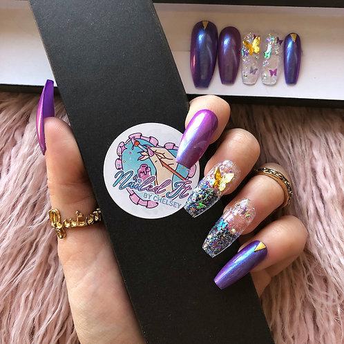 Purple Iridescent Butterflies False Nails
