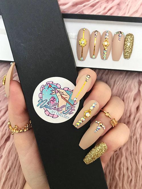 Matte Nude Gold Glitter Crystals False Nails
