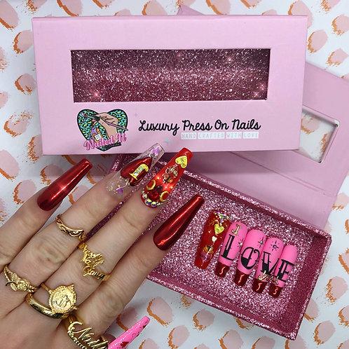 Valentines Tattoo False Nails