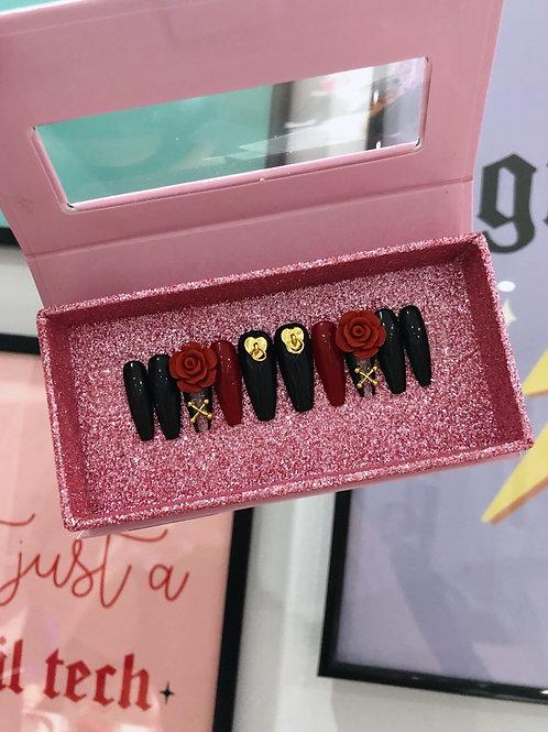 Gothic Corset Rose False Nails