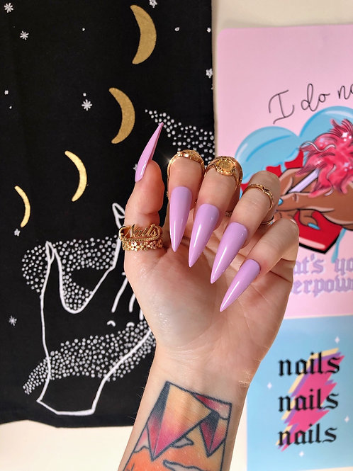 Mauve Pink False Nails