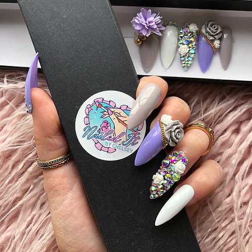 Lilac Grey Bows and Roses False Nails