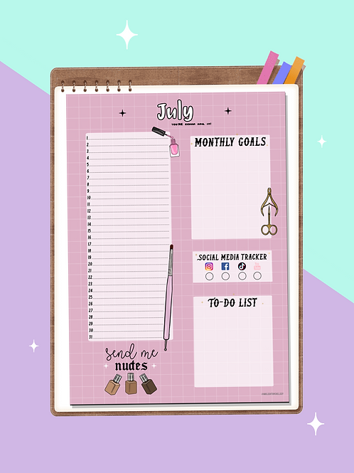 Nail Tech Monthly Planner - Pink
