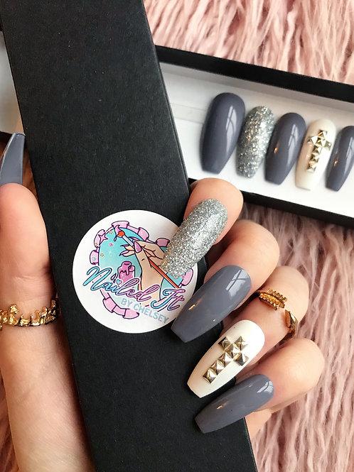 Studded Grey Glitter False Nails