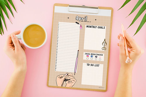 Nail Tech Monthly Planner - Beige