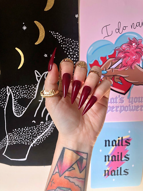 Burgundy False Nails