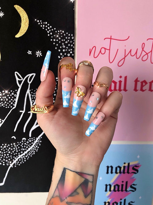 Unicorn Cloud Tips False Nails