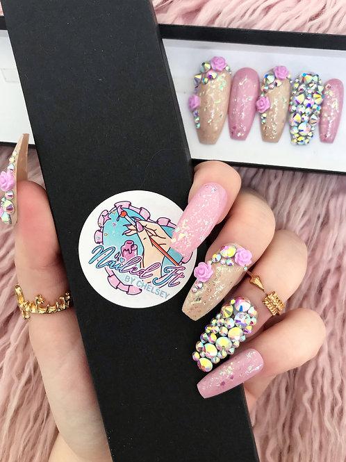 Lilac Crystal Rose False Nails