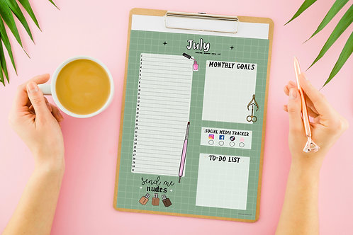 Nail Tech Monthly Planner - Olive