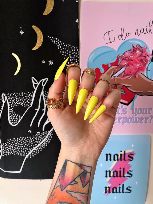 Yellow False Nails