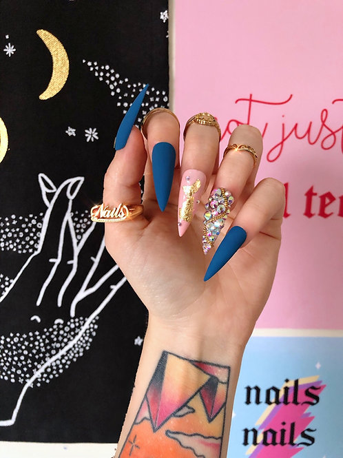 Luxury Teal Crystals False Nails