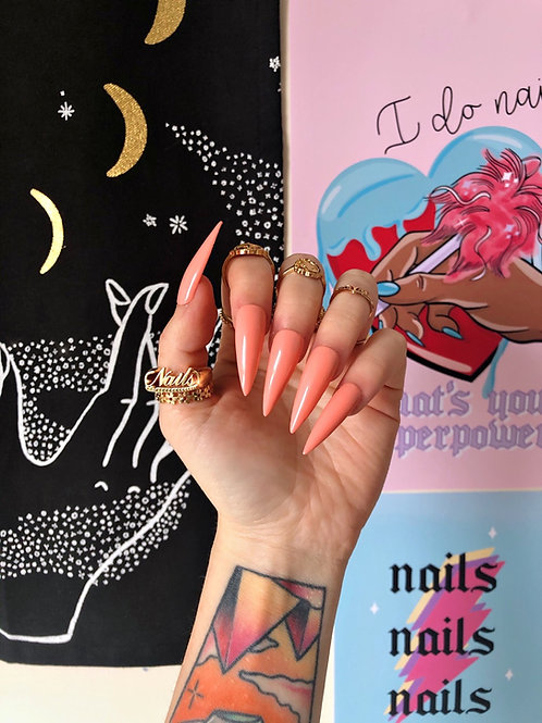 Peach False Nails