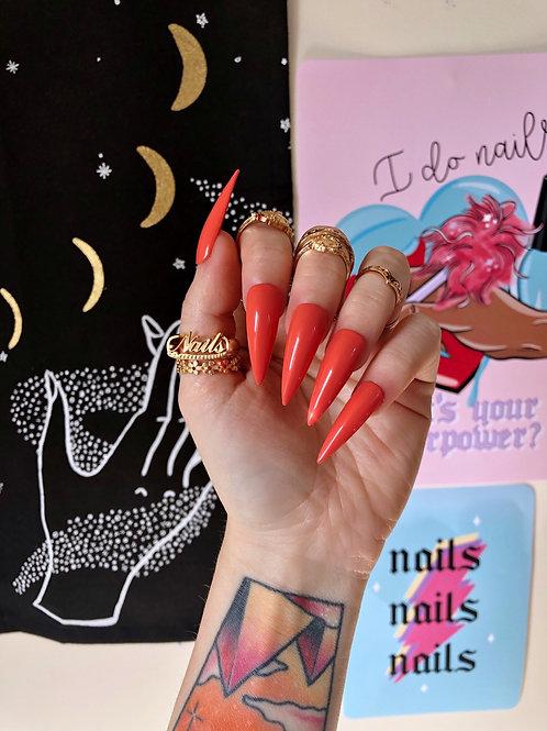 Coral Orange False Nails