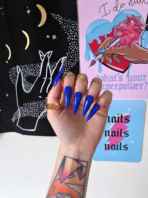 Electric Blue False Nails