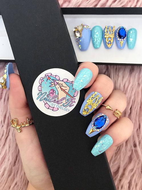 Luxury Blue Crystals False Nails
