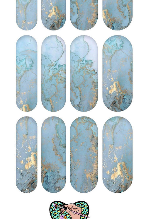 BLUE FOIL MARBLE Decals