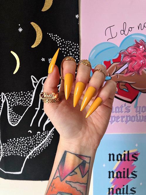 Mustard Yellow False Nails