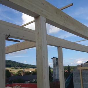 Holzkonstruktion für einen neuen Dachaufbau