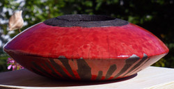 raku large  red round saucer shape.jpg