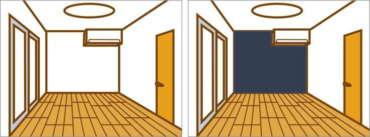 壁紙 クロス 選び 濃い色 黒 グレー 失敗 後悔 かっこいい 工務店 山形 黒田工務所 個性的 視覚 効果