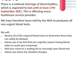 Blood Tube Shortage