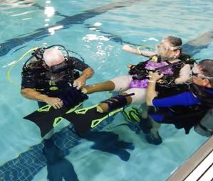 Indigo Adaptive Diving Fins on diver