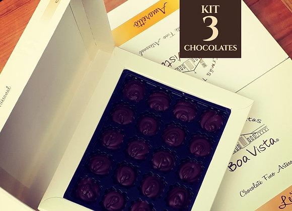 Kit com três chocolates 70% cacau