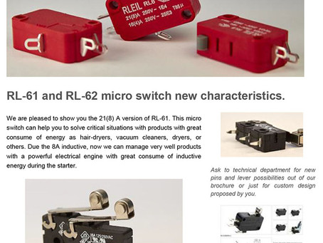 RL-61 and RL-62 micro switch new characteristics