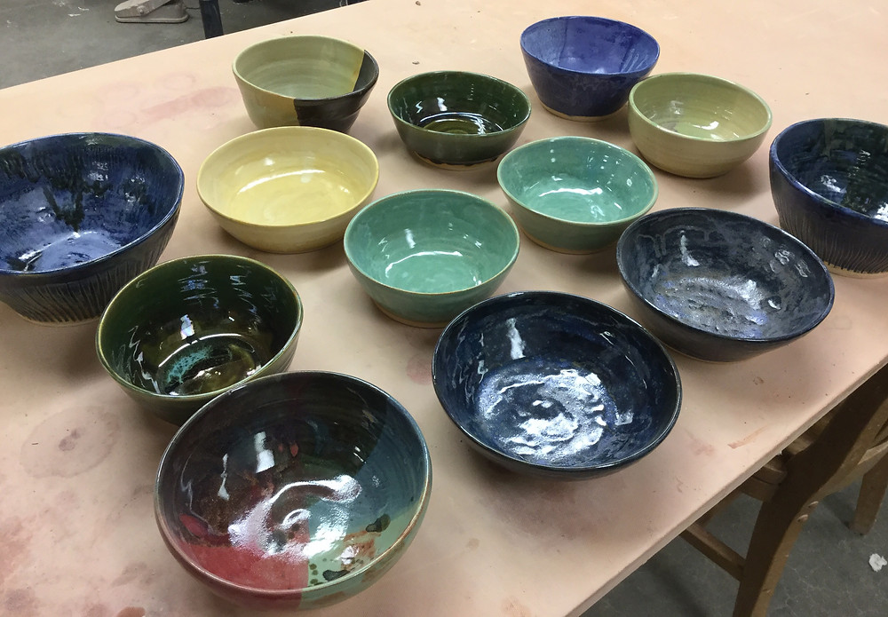 Empty Bowls made by Clark College Art students
