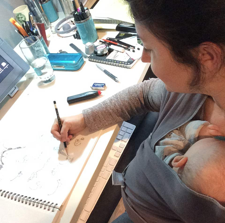 Drawing with baby