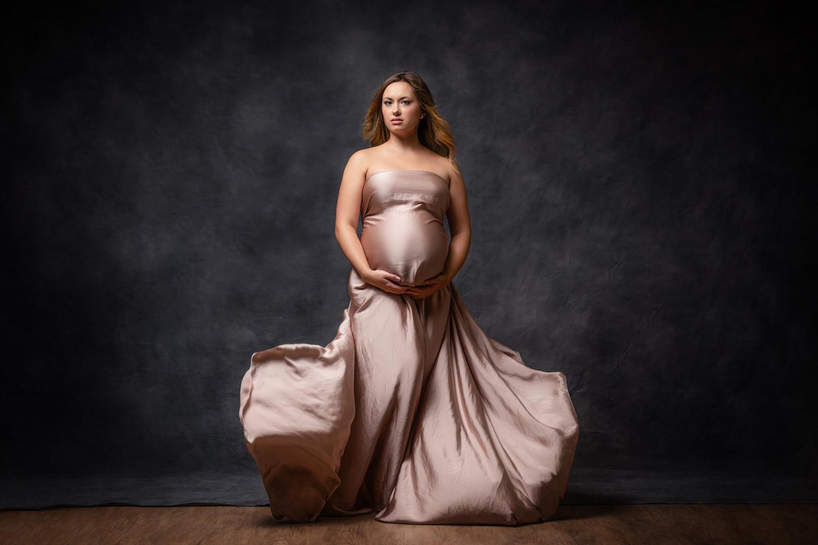 Flowing blush silk maternity portrait