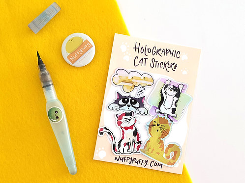 Holographic Cat Sticker Pack