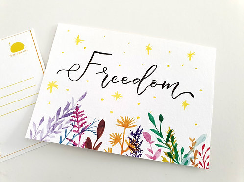 Handwritten Postcards: Freedom