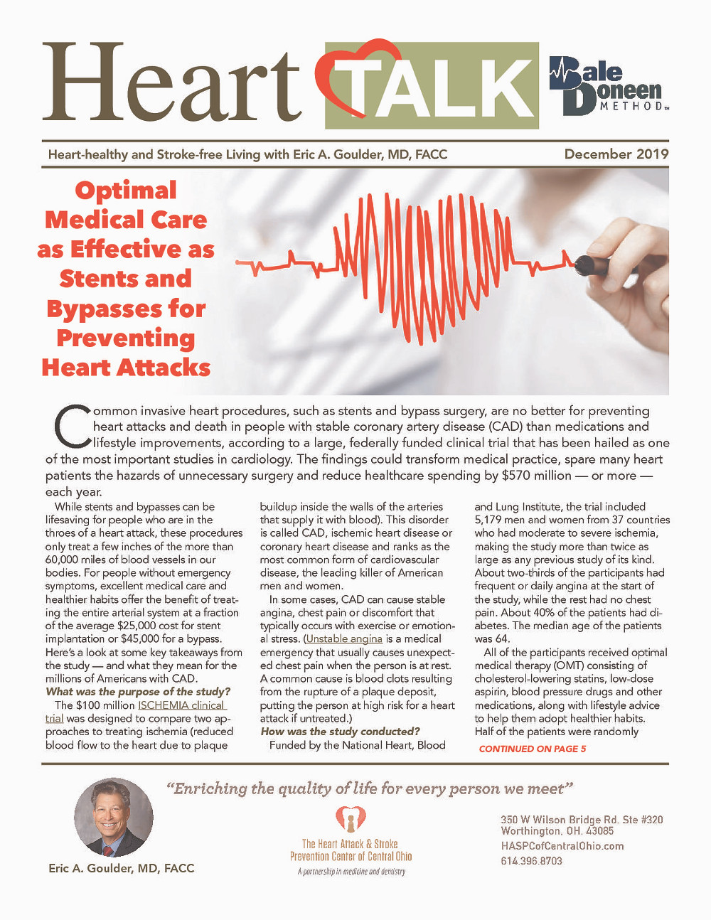 December 2020 Newsletter for the Heart Attack and Stroke Prevention Center of Central Ohio