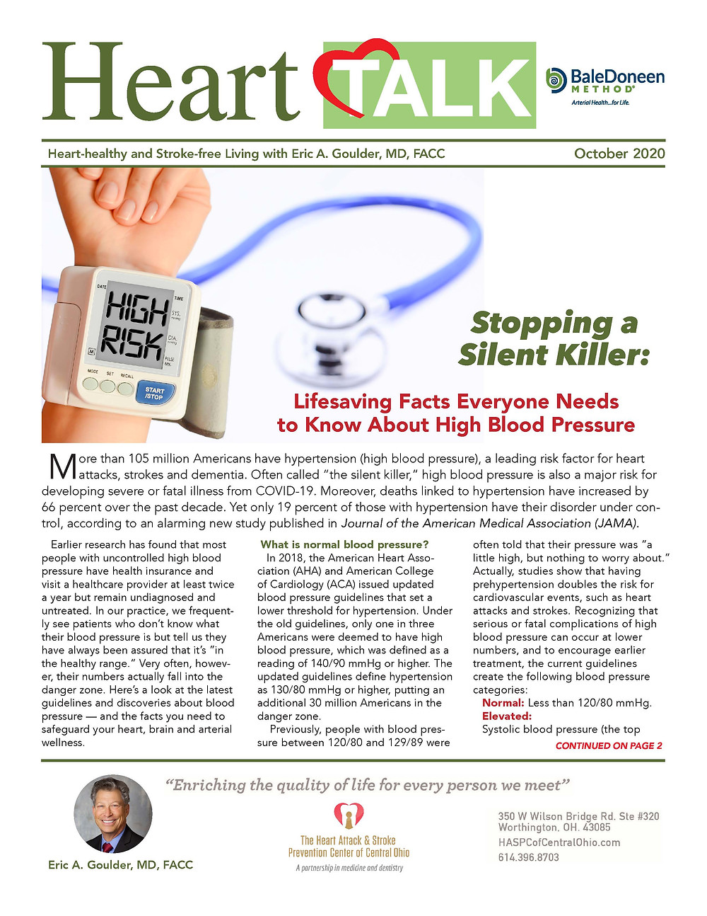 November 2020 Newsletter for the Heart Attack and Stroke Prevention Center of Central Ohio